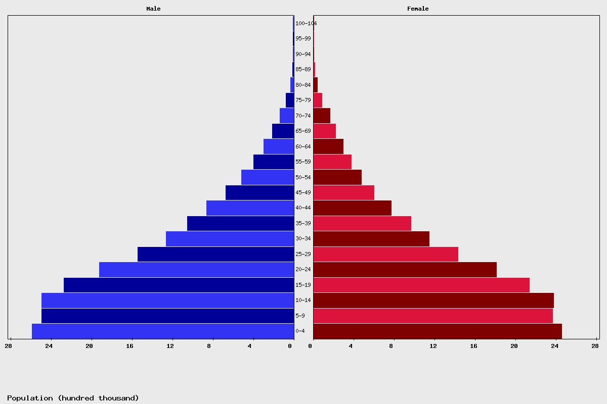 Afghanistan Age structure and Population pyramid