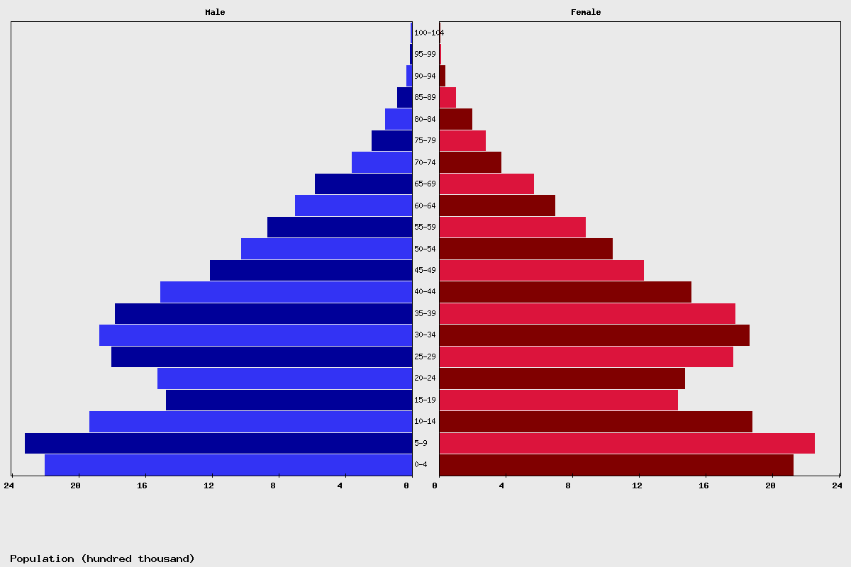 Algeria Age structure and Population pyramid