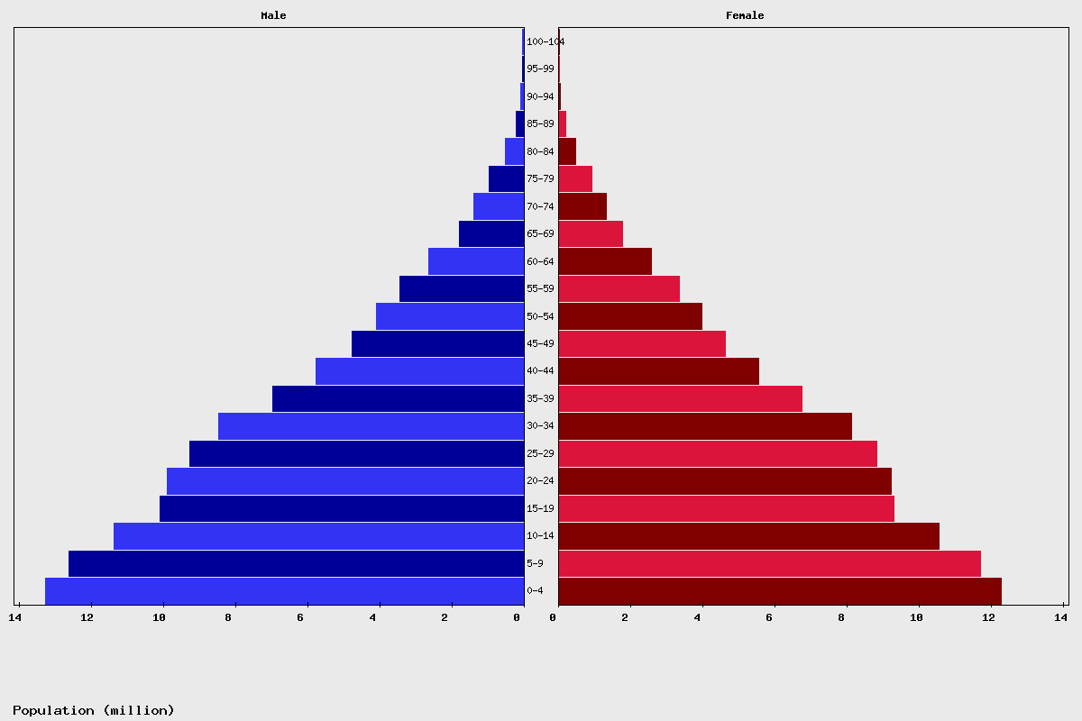 Pakistan Age structure and Population pyramid