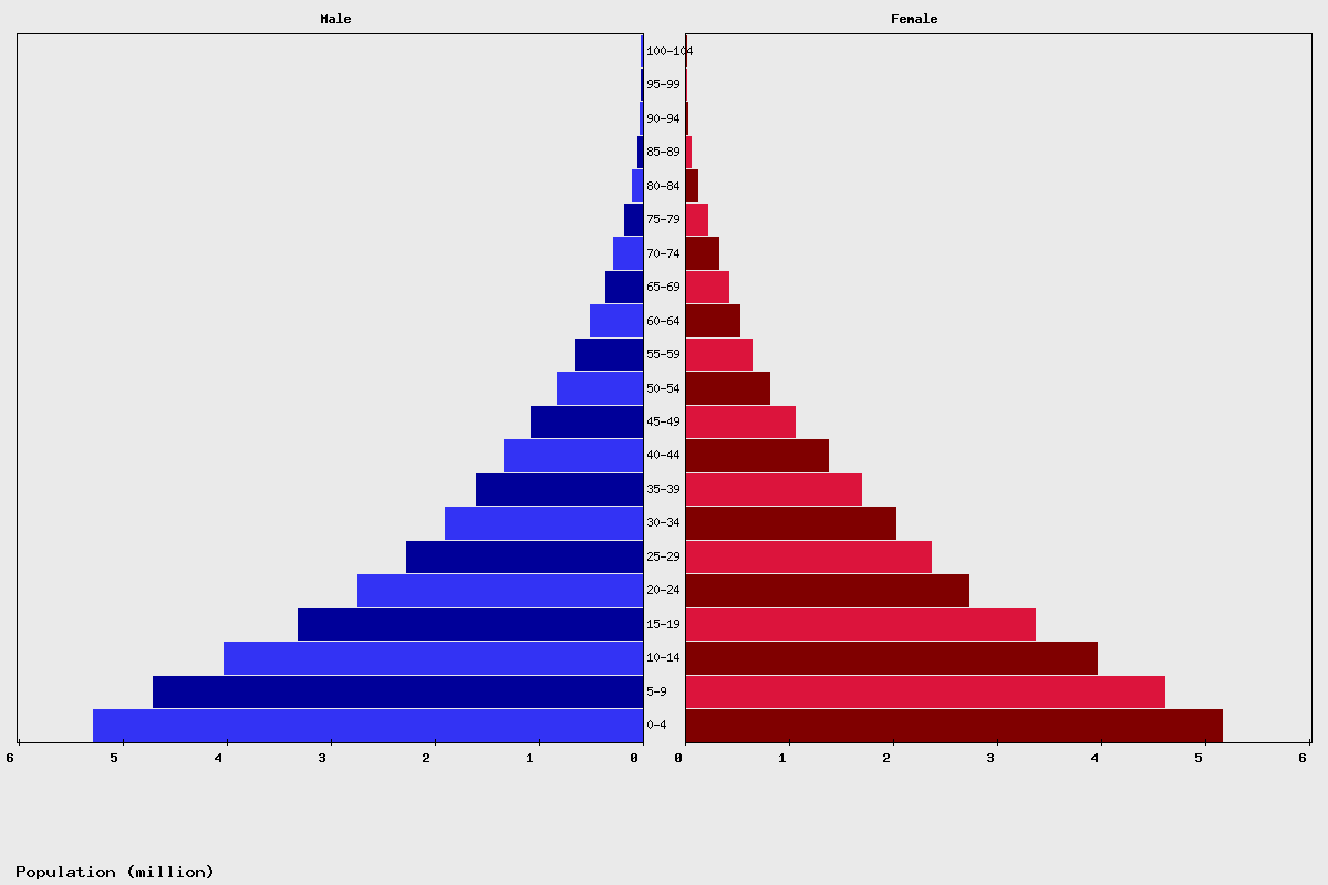 Tanzania Age structure and Population pyramid