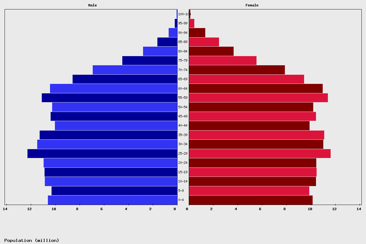 United States Age structure and Population pyramid